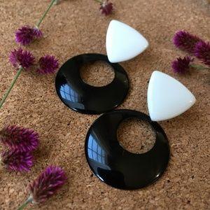 VTG Geometric Black & White Door Knocker Earrings